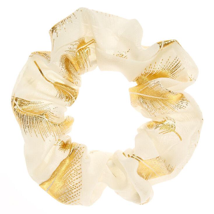 Medium Gold Leaf Hair Scrunchie - Ivory,