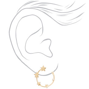 Gold Star Hoop Stud Earrings,
