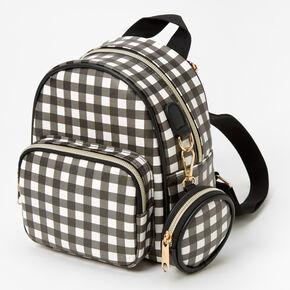 Mini Gingham Backpack - Black & White,