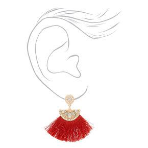 """Rose Gold 2.5"""" Crystal Tassel Drop Earrings - Red,"""