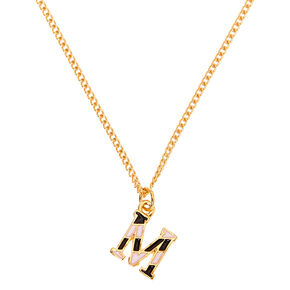 Gold Striped Initial Pendant Necklace - M,