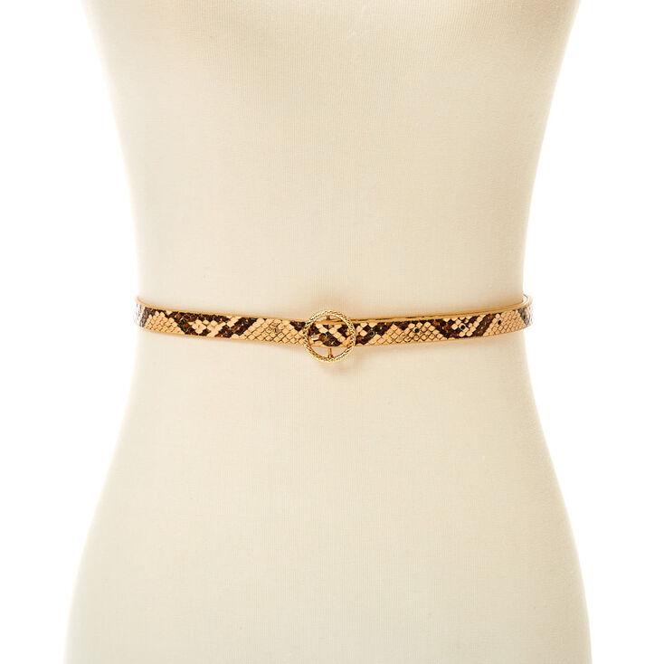 Snakeskin Skinny Belt - Nude,