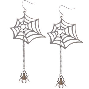 "Hematite 3.5"" Spiderweb Drop Earrings,"
