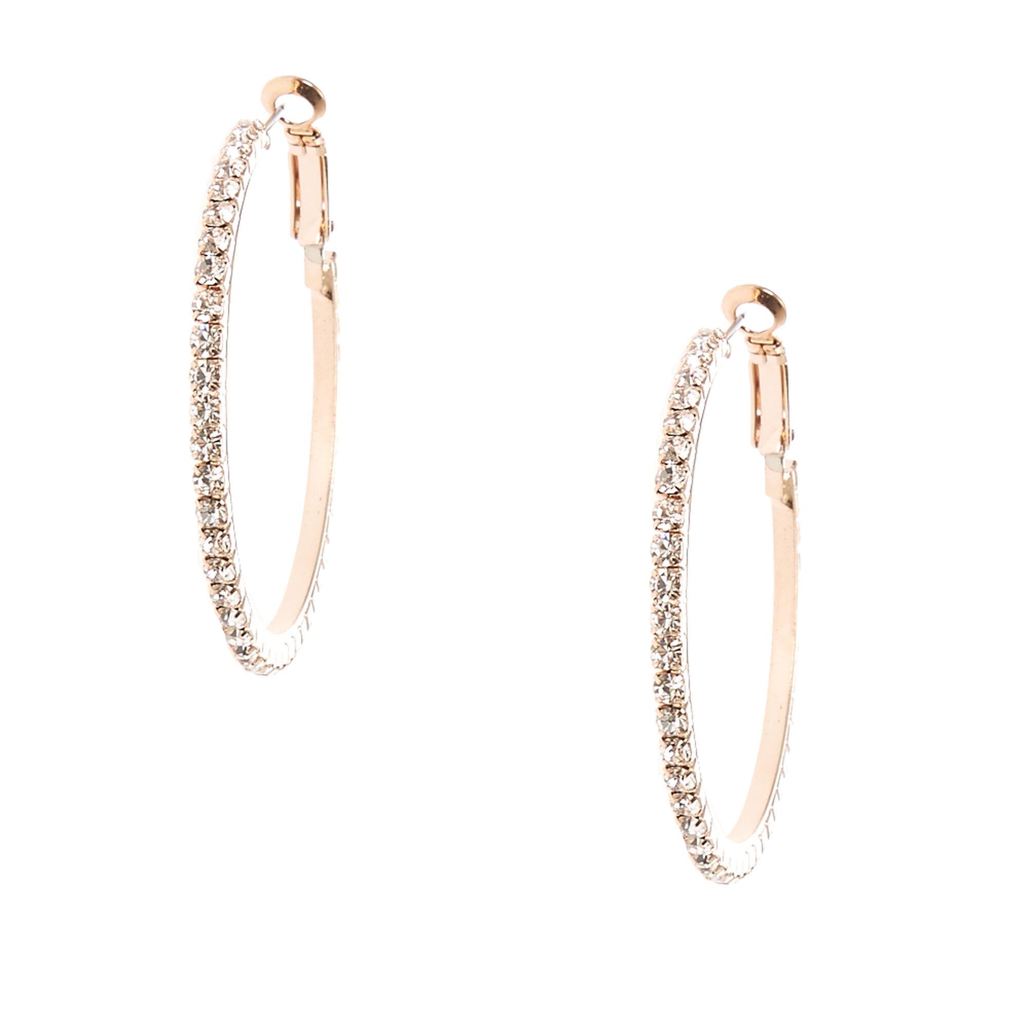 Crystal Lined Rose Gold Tone Hoop Earrings