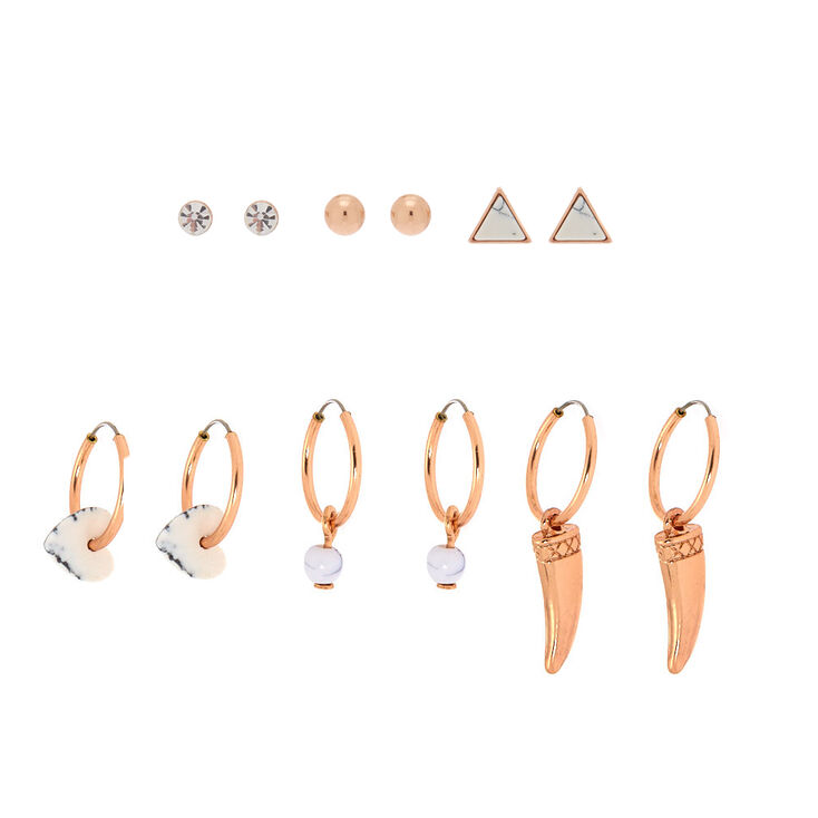 Rose Gold Marble Mixed Earrings - 6 Pack,