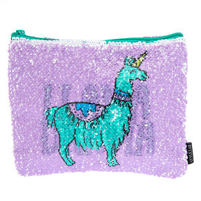 Llama Drama Reversible Sequin Cosmetic Pouch - Purple,