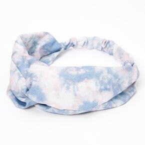 Pastel Tie Dye Twisted Headwrap - Dusty Blue,