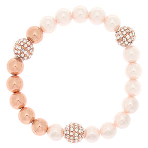 Rose Gold Pearl Stretch Bracelet,