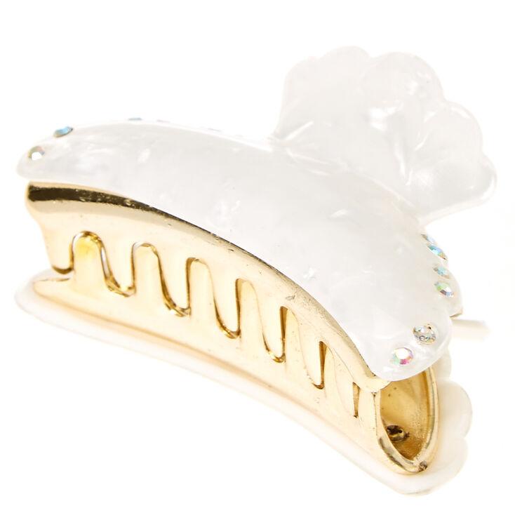 White Faux Marble Hair Claw,