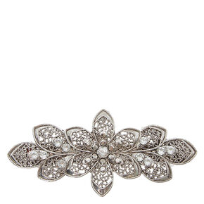 Silver Floral Filigree Hair Clip,