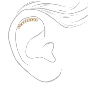 16G Gold Pave Curve Cartilage Ear Crawler Earring,