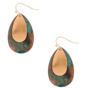 """Gold 1.5"""" Patina Teardrop Drop Earrings,"""
