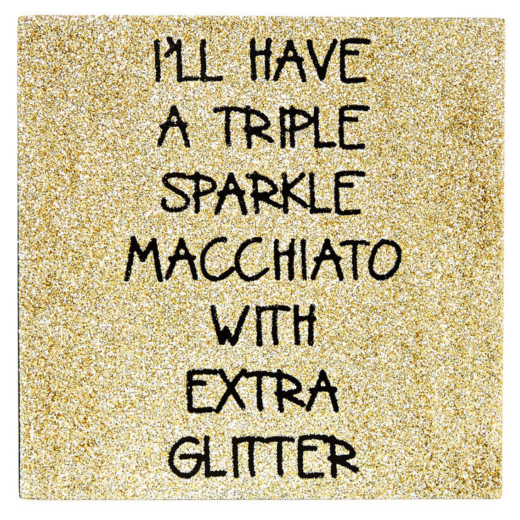Triple Sparkle Gold Glitter Desk Canvas,