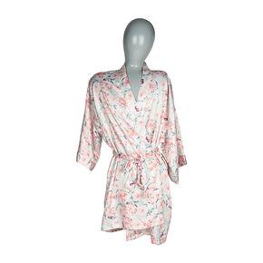 Pink Floral Print Satin Robe,