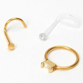 Gold 20G Crystal Nose Studs & Ring - 3 Pack,