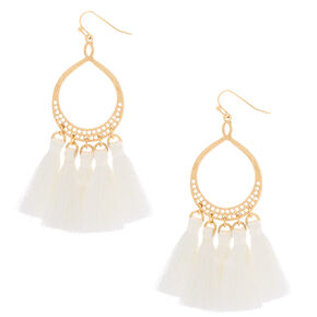 "3"" Teardrop Tassel 3 Drop Earrings - White,"