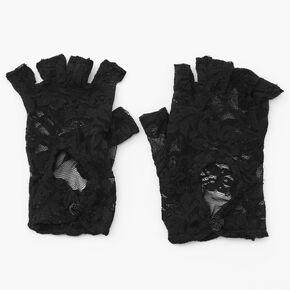 Lace Fingerless Gloves - Black,
