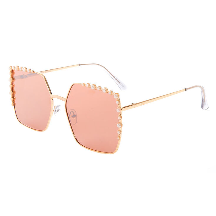 Vintage Oversized Square Pearl Sunglasses - Rose Gold,