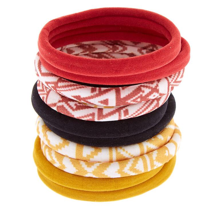 Aztec Print & Solid Hair Ties - Burgundy, 10 Pack,