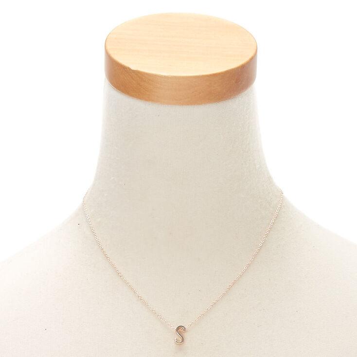 Rose Gold Cursive Initial Pendant Necklace - S,