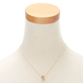 Rose Gold Cursive Initial Pendant Necklace - A,