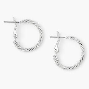 Silver 20MM Laser Cut Twisted Hoop Earrings,