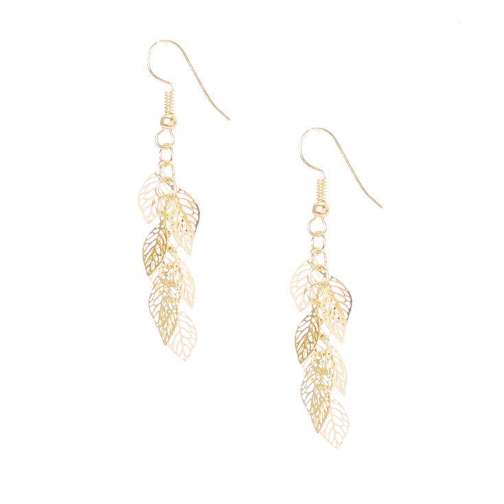 Gold Leaf Cut Out Drop Earrings,
