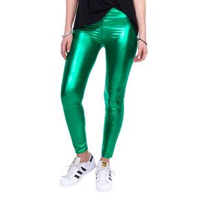 Green Metallic Leggings,