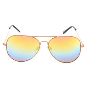 Rose Gold Aviator Sunglasses,