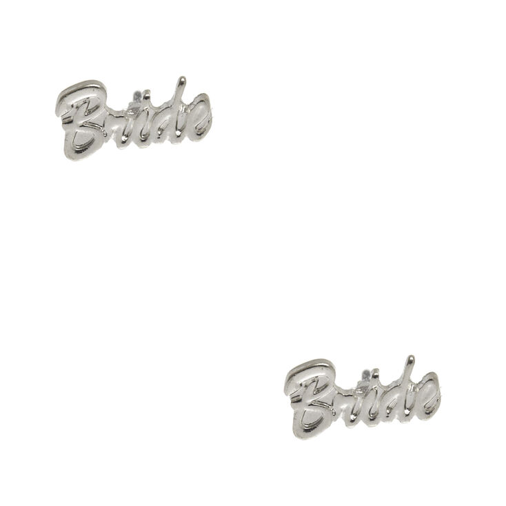 Silver Tone Bride Stud Earrings,