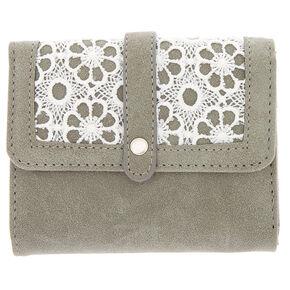 Trifold Crochet Wallet - Grey,
