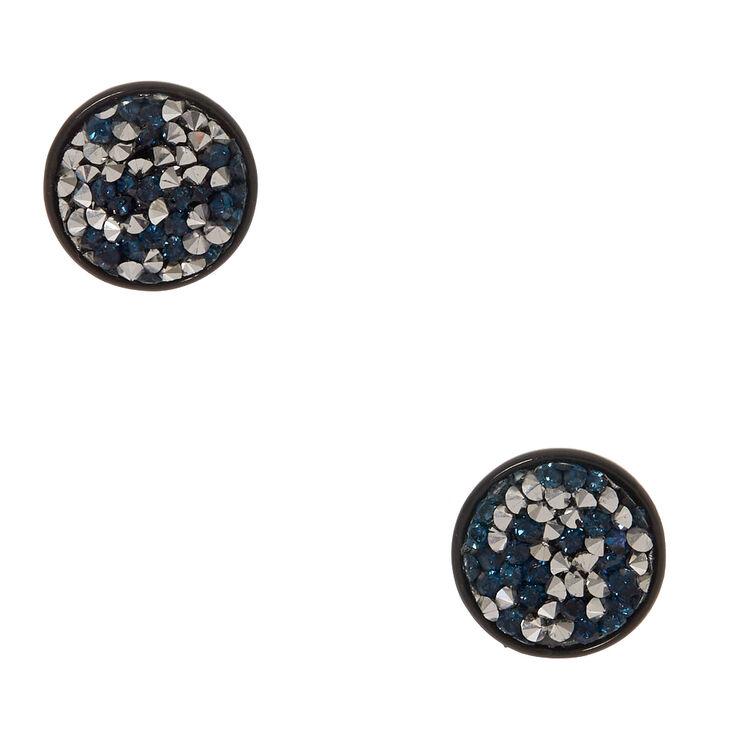 Silver & Blue Faux Druzy Stone Black Disc Earrings,