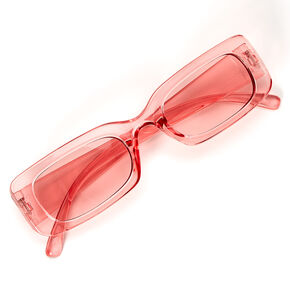 Slim Rectangle Transparent Sunglasses - Pink,