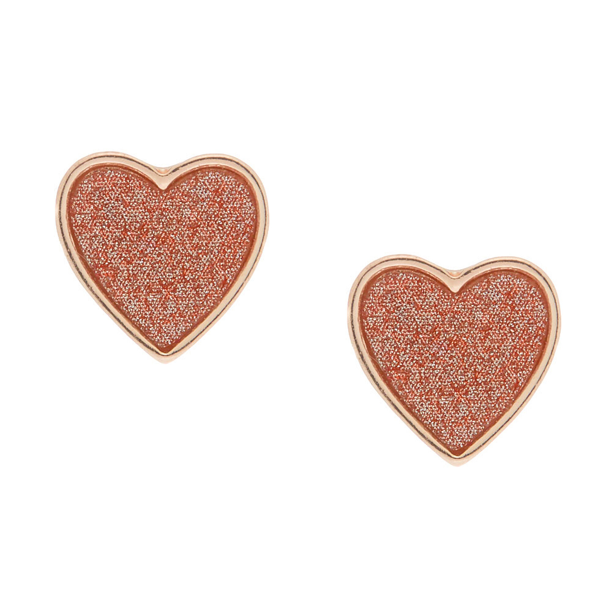 4f93501fd Rose Gold Glitter Heart Stud Earrings | Icing US
