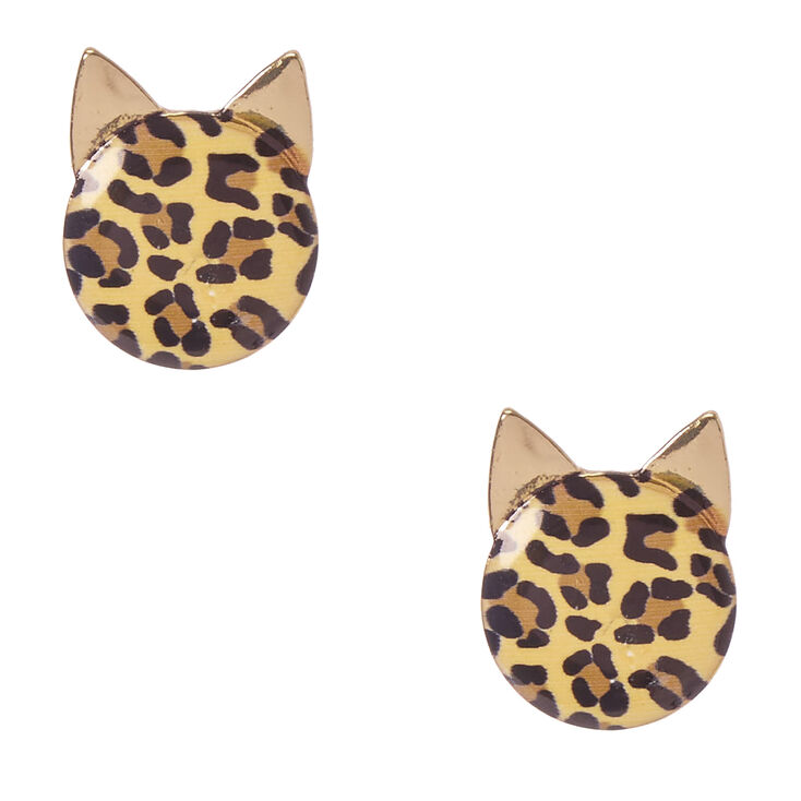 Leopard Print Cat Face Stud Earrings,