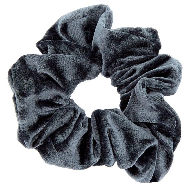 Oversized Velvet Hair Scrunchie - Slate Gray,