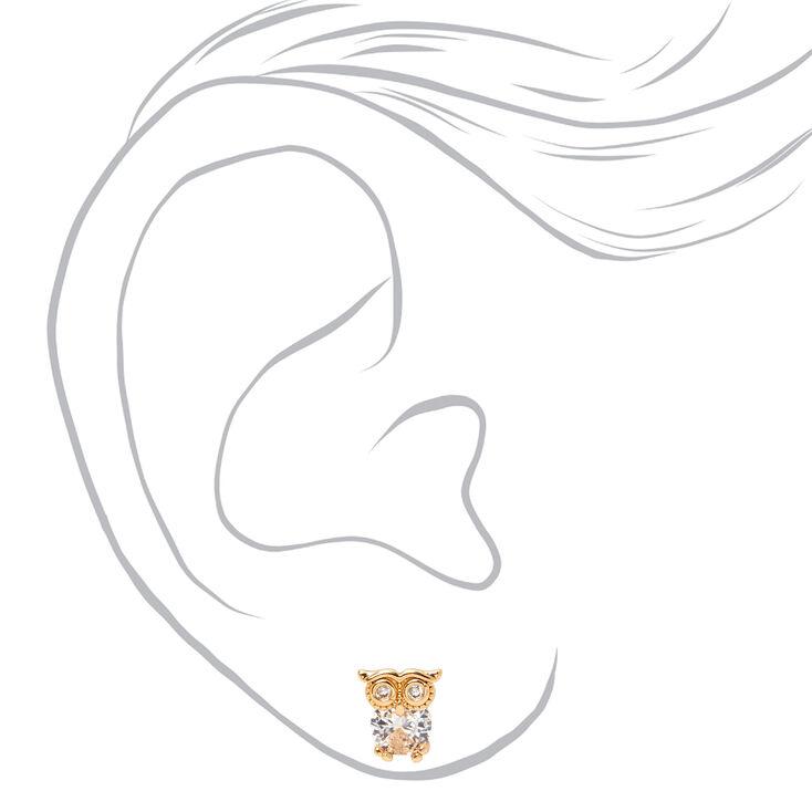 Gold 5MM Cubic Zirconia Owl Stud Earrings,