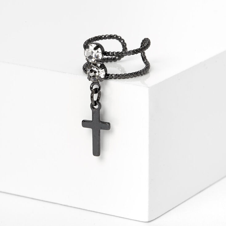 Hematite Crystal Cross Ear Cuff,