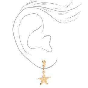 "Gold 1"" Sandblasted Star Drop Earrings,"