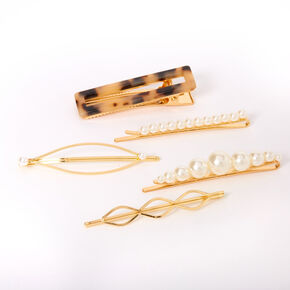 Gold Pearl Tortoiseshell Hair Pins - 5 Pack,