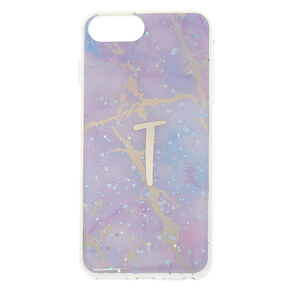 Lilac Marble Glitter T Initial Phone Case - Fits iPhone 6/7/8 Plus,