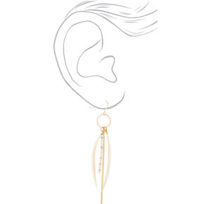 "Gold 4"" Skinny Beaded Feather Drop Earrings - Ivory,"