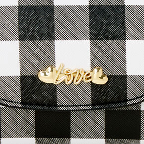 Micro Gingham Love Crossbody Bag - Black & White,