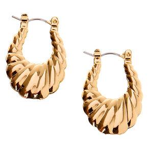 Gold 25MM Scalloped Hoop Earrings,