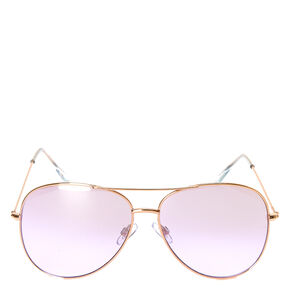 Aviator Purple Tinted Sunglasses - Gold,