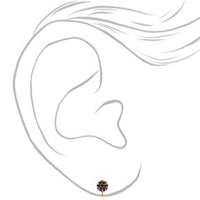 Gold Fireball Clip On Stud Earrings - Black,