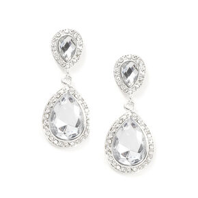 Crystal & Rhinestone Inverted Teardrop Drop Earrings,
