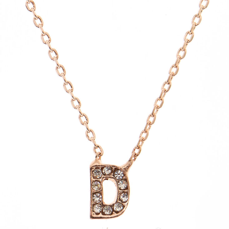 Rose Gold Studded D Initial Necklace,