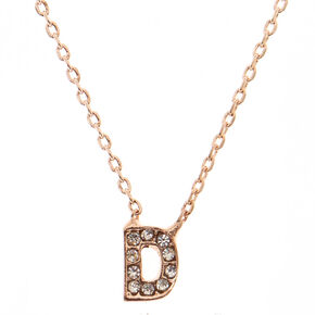 "Rose Gold Studded ""D"" Initial Necklace,"
