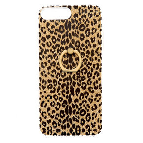 Gold Glitter Leopard with Ring Holder Phone Case - Fits iPhone 6/7/8 Plus,